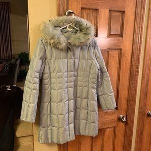 Mint green winter coat with raccoon fur trim
